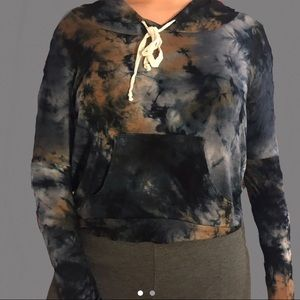 Vintage Galaxy print Cropped sweater with hoodie